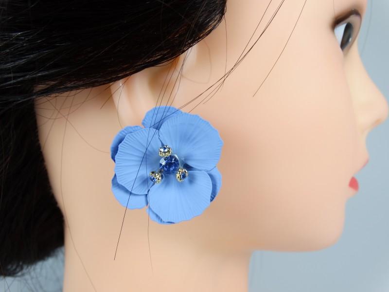 Cercei flori si cristale albastre