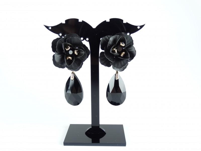 Cercei flori si cristale negre