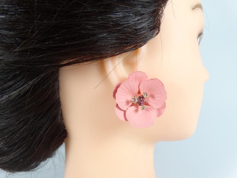 Cercei flori si cristale roz