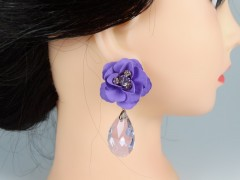 Cercei flori violet si cristale forma para