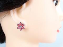 Cercei floricele cristale roz