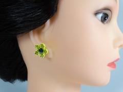 Cercei floricele galbene si cristale
