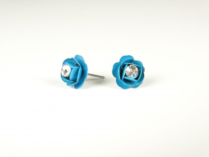 Cercei floricele metalice albastre