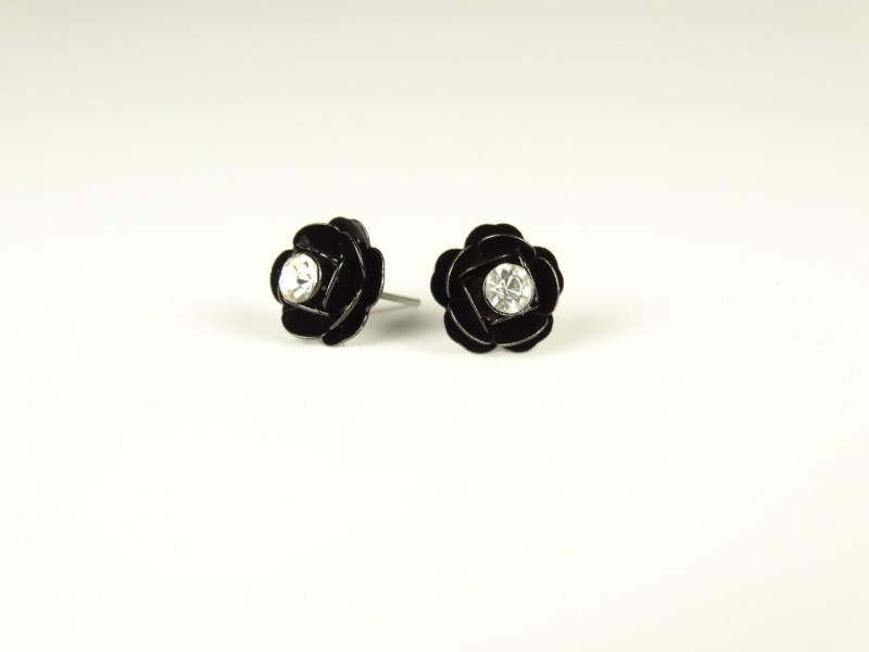 Cercei floricele metalice negre