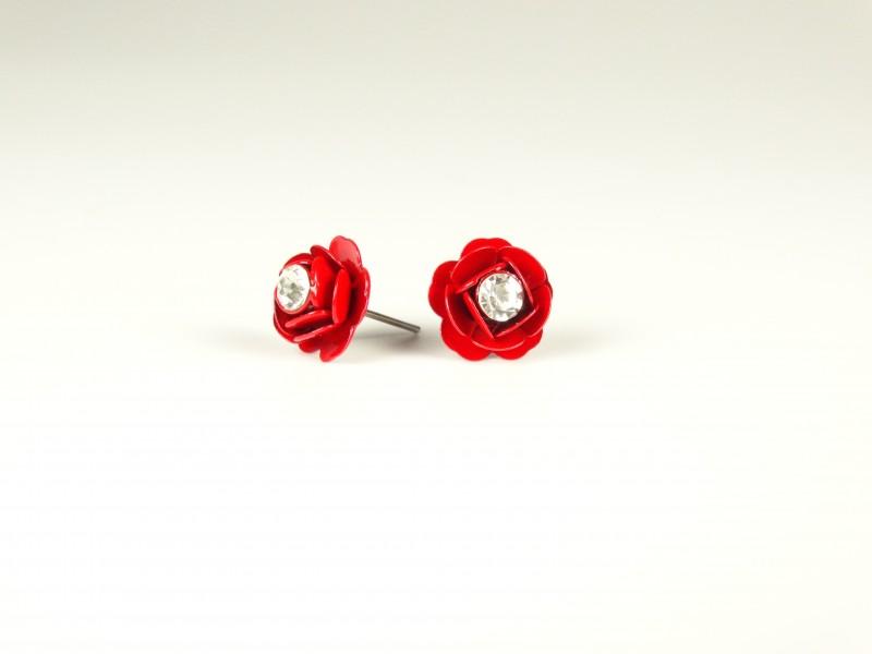 Cercei floricele metalice rosii