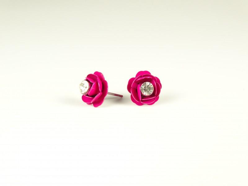 Cercei floricele metalice roz inchis