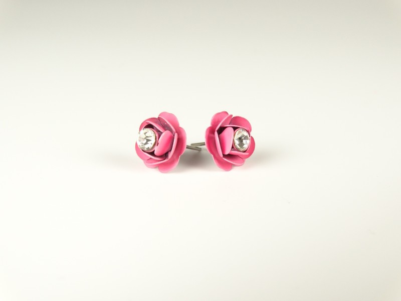 Cercei floricele metalice roz