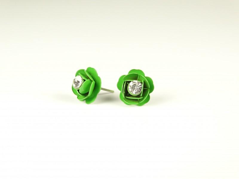Cercei floricele metalice verzi