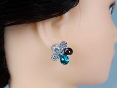 Cercei floricele petale turcoaz