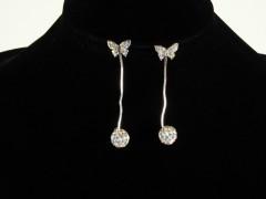 Cercei fluturi argintii