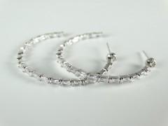 Cercei hoops argintiu  - cristale
