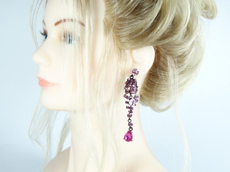 Cercei lungi cristale roz