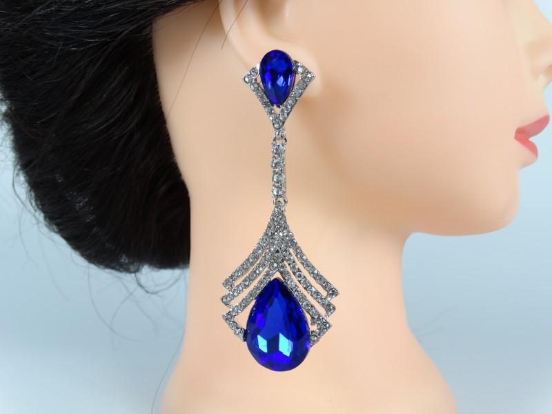 Cercei lungi ocazie cristale albastre