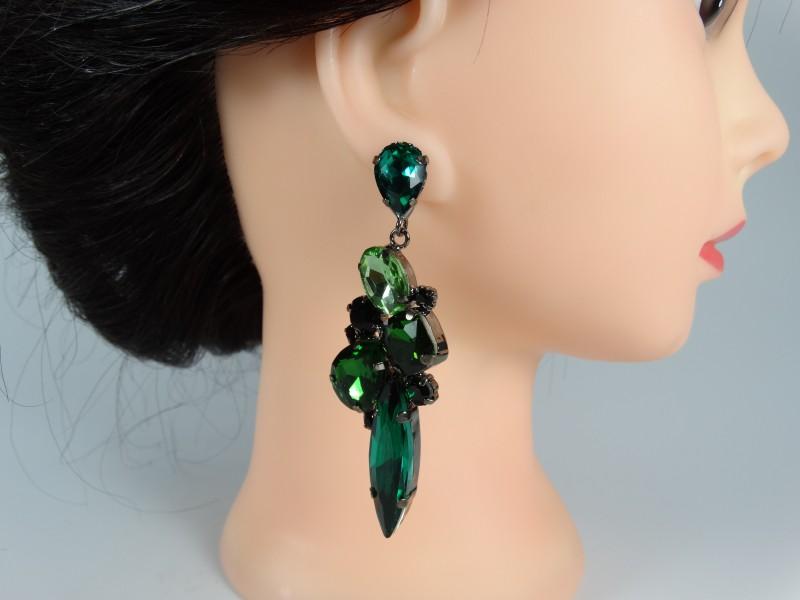 Cercei lungi ocazie cristale verzi l