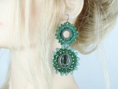 Cercei margele si cristale verzi