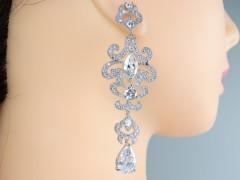 Cercei mireasa - ocazie argintii cristale zirconiu