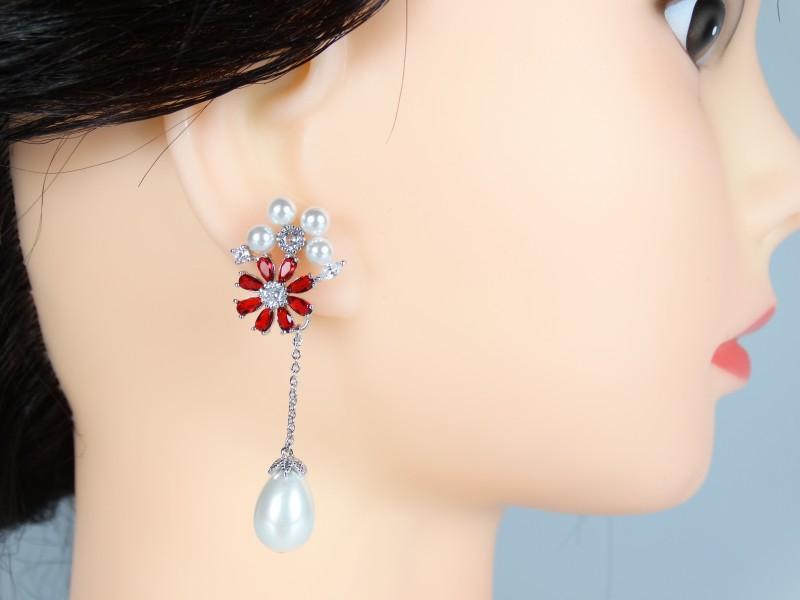 Cercei mireasa - ocazie model floral cristale si perle