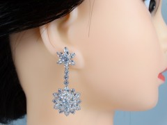 Cercei mireasa - ocazie model floral otel inoxidabil