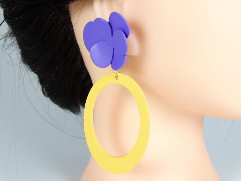 Cercei model floral violet galben