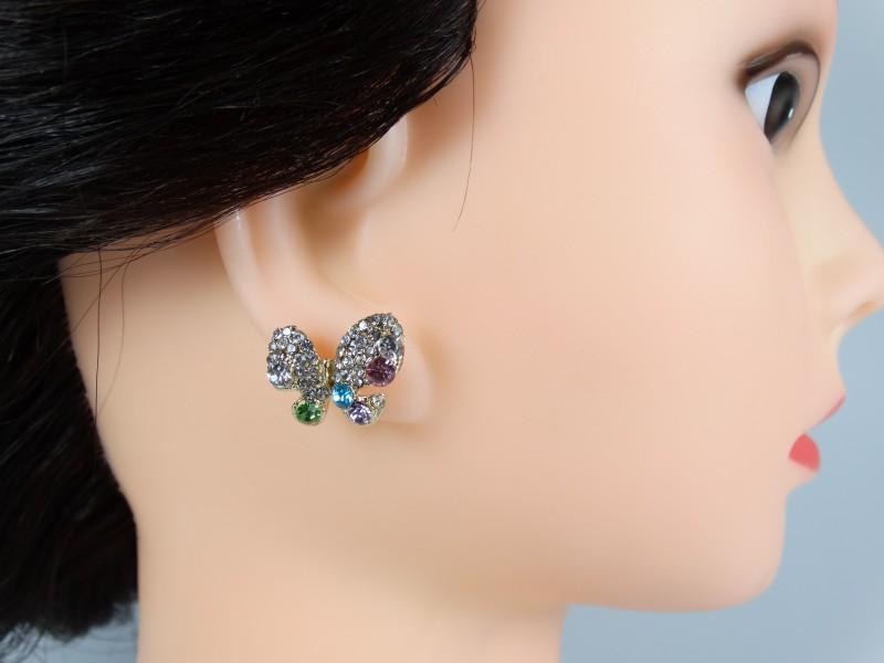 Cercei model fluture cristale multicolore