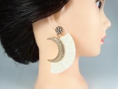 Cercei model semiluna auriu - bej