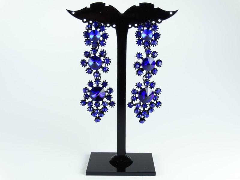 Cercei negrii cristale albastre