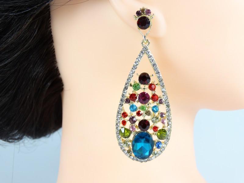 Cercei ocazie aurii - cristale multicolore