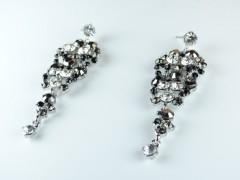Cercei ocazie cristale alb - gri - negru