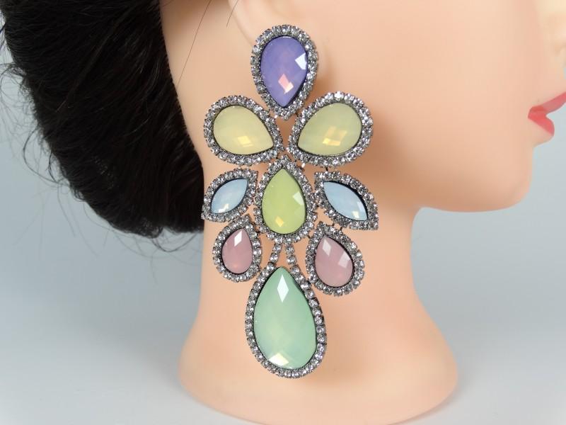 Cercei ocazie cristale multicolore fantezie