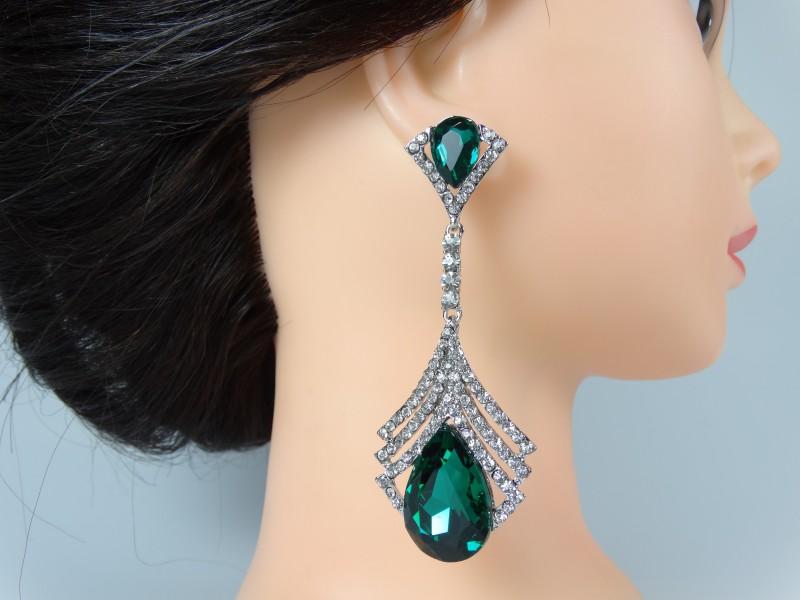 Cercei ocazie cristale verde smarald