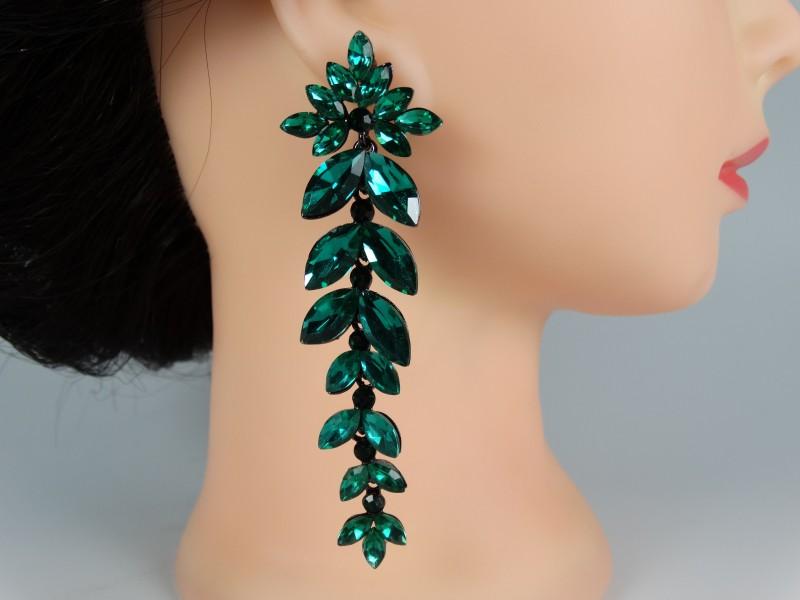 Cercei ocazie cristale verzi lungi