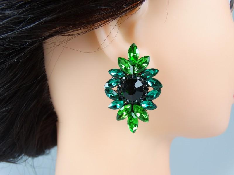 Cercei ocazie cristale verzi mici