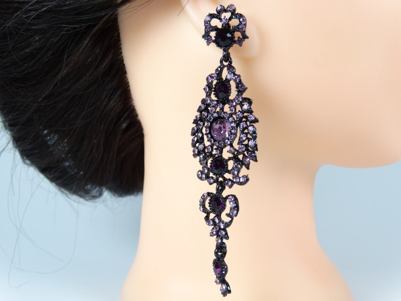 Cercei ocazie cristale violet - fantezie