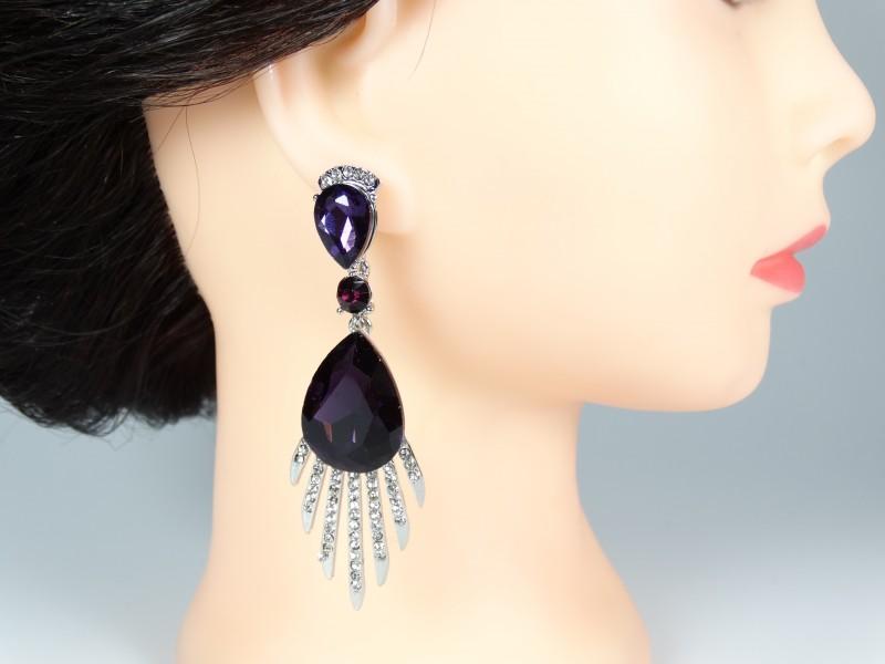 Cercei ocazie cristale violet