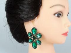 Cercei ocazie model floare cristale verzi
