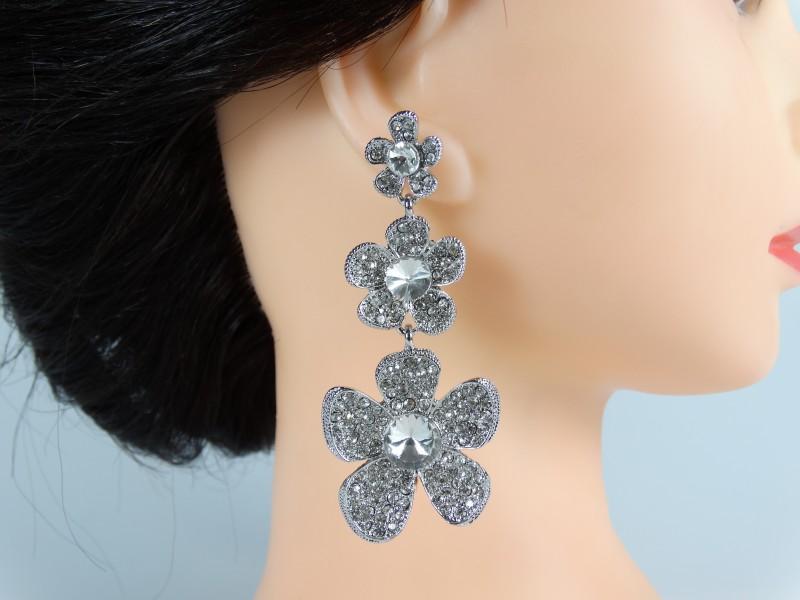 Cercei ocazie model floral - cristale