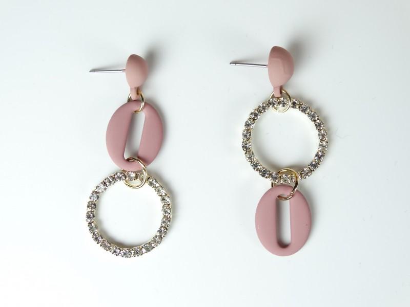 Cercei ocazie roz model fantezie - cristale