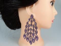Cercei ocazie tip candelabru cristale violet