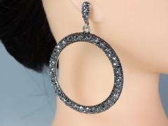 Cercei ocazie tip hoops cristale gri