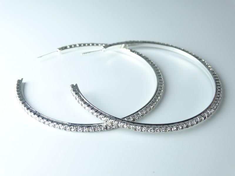 Cercei ocazie tip hoops - cristale