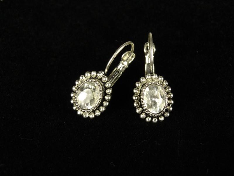 Cercei ovali argintii si cristale