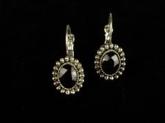 Cercei ovali argintii si cristale negre