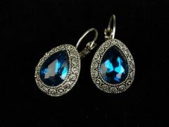 Cercei argintii si cristale turcoaz