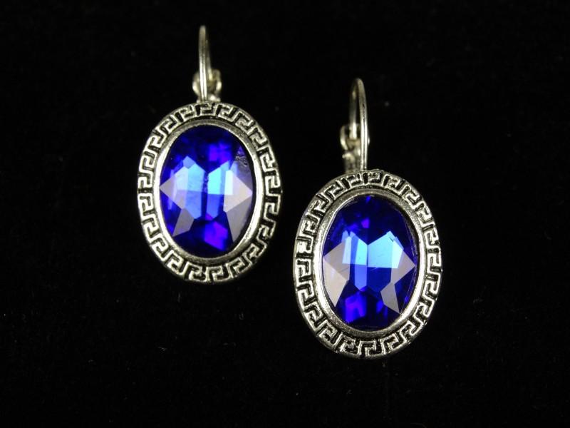 Cercei ovali cristale albastre