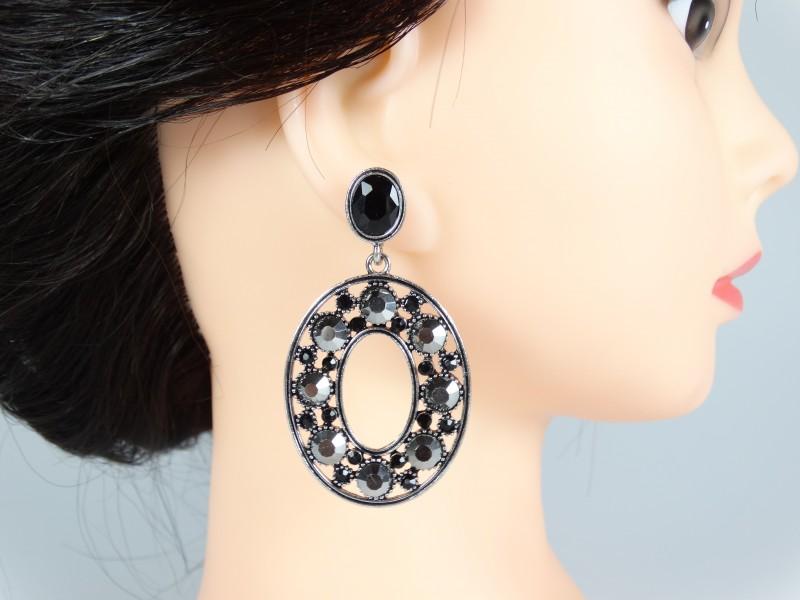 Cercei ovali cristale gri antracit si negre