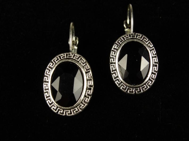 Cercei ovali cristale negre