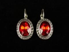 Cercei ovali cristale rosii