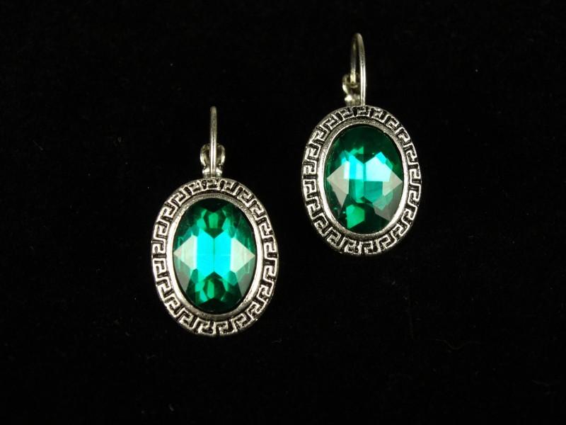 Cercei ovali cristale verzi