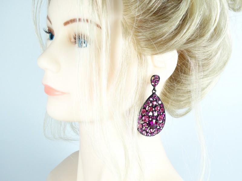 Cercei ovali mari si cristale roz