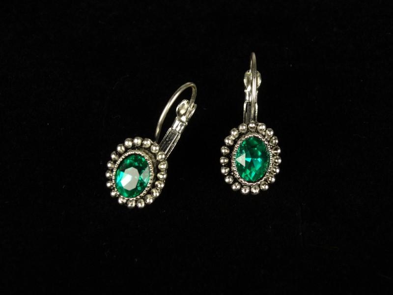 Cercei ovali mici cristale verzi